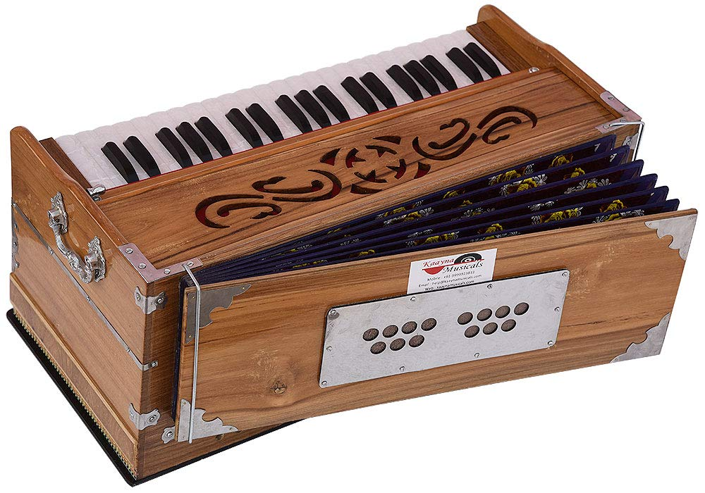 Harmonium Teak Wood By Kaayna Musicals, 11 Stops- 6 Main & 5 Drone, 3½ Octaves, Coupler, Natural Wood Color, Gig Bag, Bass/Male Reed- 440 Hz, Best for Yoga, Bhajan, Kirtan, Shruti, Mantra, etc by Kaayna Musicals (Image #2)