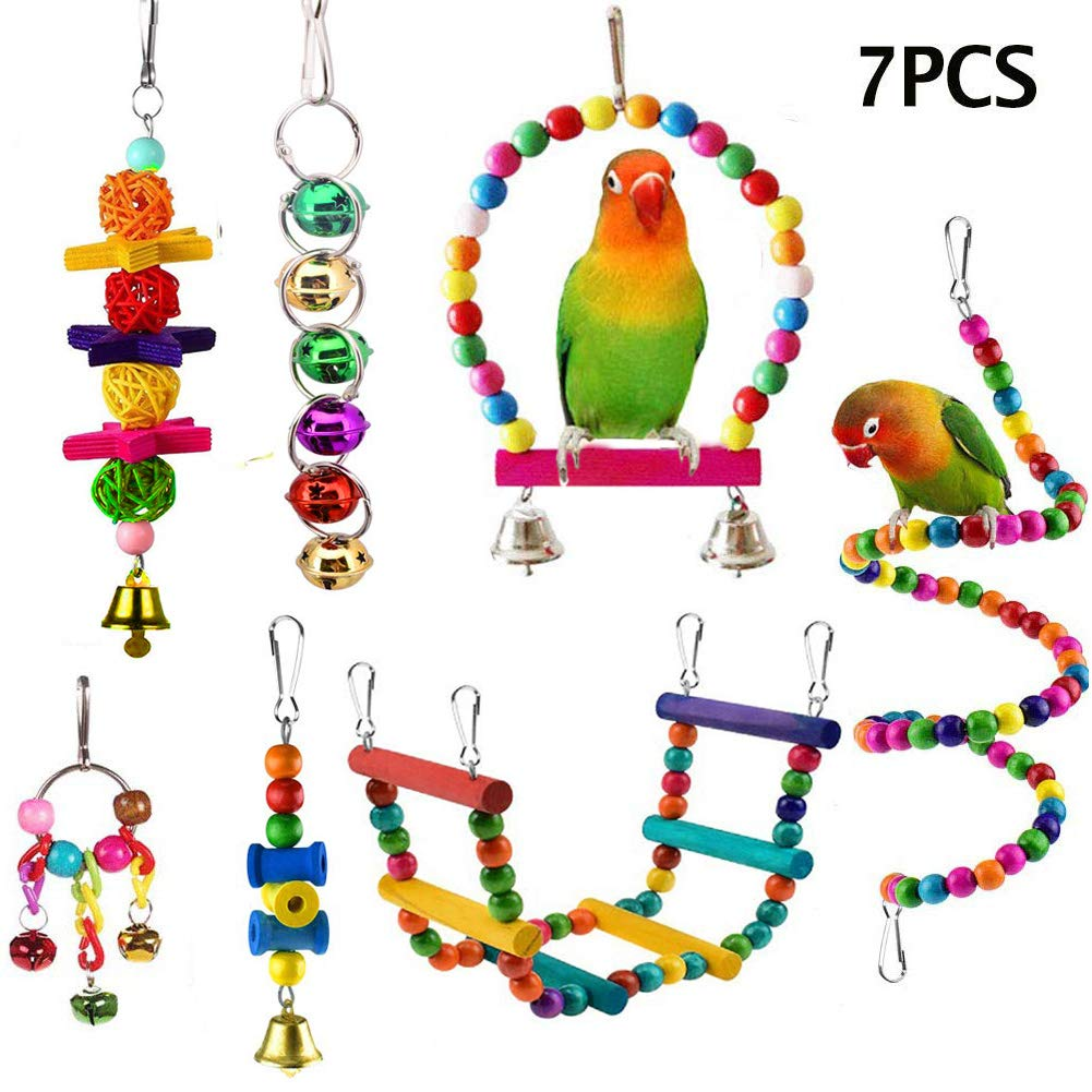 ESRISE 7 Pcs Bird Parrot Toys, Hanging Bell Pet Bird Cage Hammock Swing Climbing Ladders Toy Wooden Perch Chewing Toy…