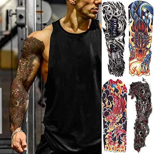 031c2045e Oottati 4 Sheets Full Arm Leg Extra Large Temporary Tattoos, Body Art for  Men and