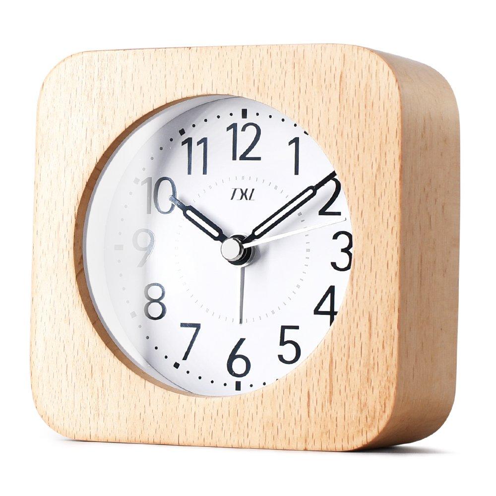 5.5'' Wood Alarm Clock Digital Battery Operated Silent Desk Clock Snooze and Light Function, Beep Sounds, Gentle Wake, Ascending Alarm, Easy Set Kids Bedside Mute Beech Alarm Clock for Office/Seniors