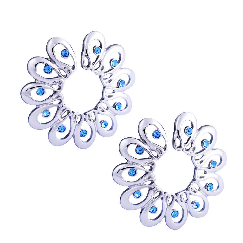 CrazyPiercing 1Pair Surgical Steel Blue Faux Crysta Tribal Floral Clip on Non-Pierce Fake Nipple Ring GYJ-BLGemSFNippleS2P