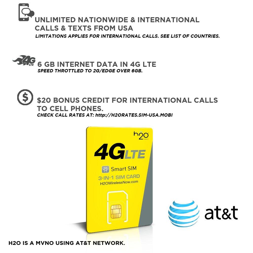 SIM prepago EEUU - 6GB 4G LTE - lllamadas y mensajes de texto Internacionales - 30 días H2O