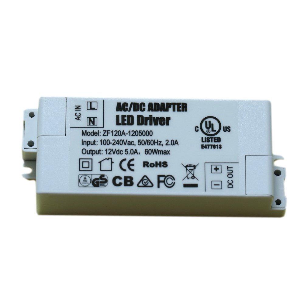 Adogo LED trasformatore LED alimentazione: 60W, 12V DC, 5A–tensione costante per strisce LED e G4, MR16, MR11, lampadine a LED, White, 24 W 24.00watts 12.00volts