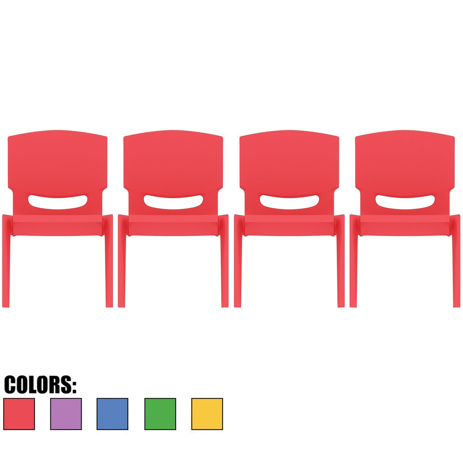 2xhome - Set of Four (4) - Red - Kids Size Plastic Side Chair 10'' Seat Height Red Childs Chair Childrens Room School Chairs No Arm Arms Armless Molded Plastic Seat Stackable