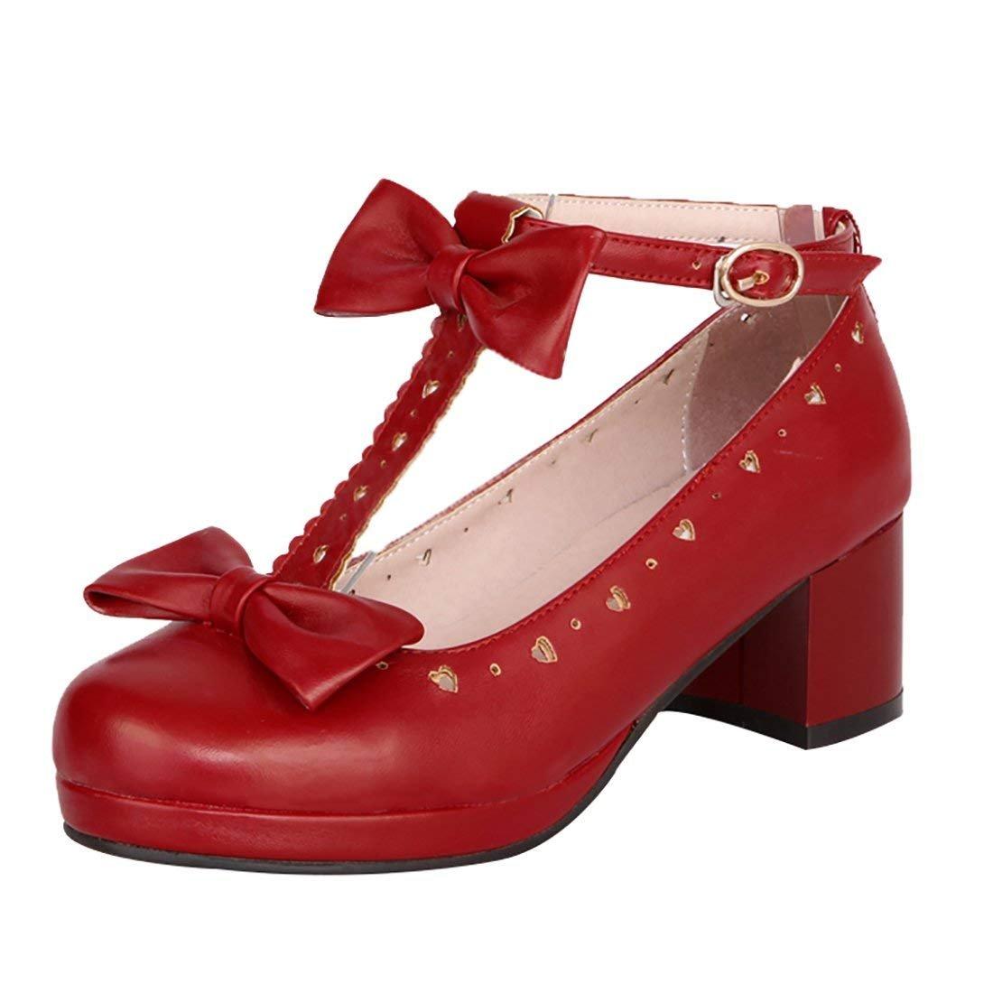 YE Escarpin Femme Rockabilly Femme B01N4HMCRY Chaussure Talon Bloc Lanière en T Boucle Chaussure Noeud Pallion Rouge 5171be0 - therethere.space