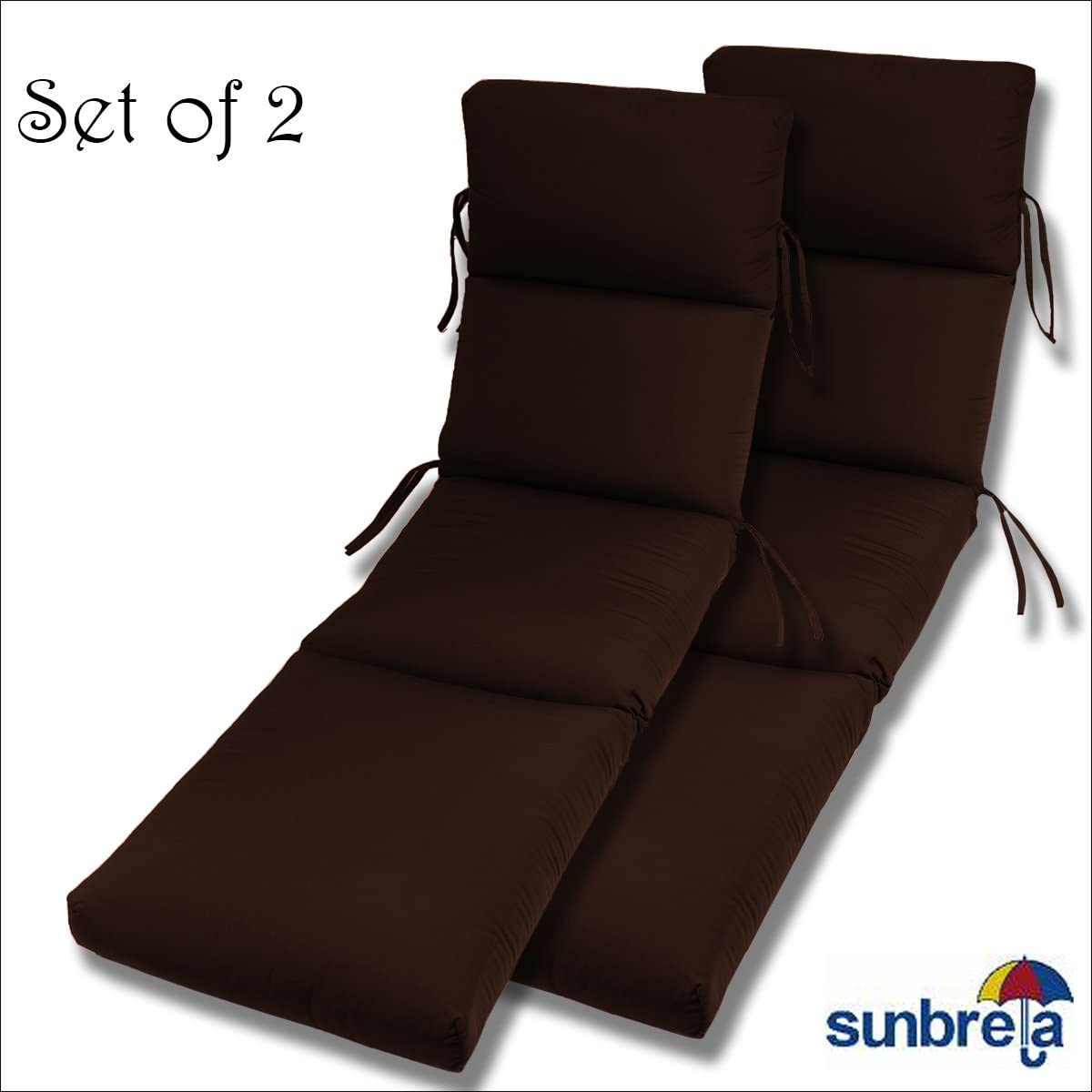 Comfort Classics Inc. Set of 2-22x74x5 Sunbrella Indoor Outdoor Fabrics in Bay Brown CHANNELED Chaise Cushion