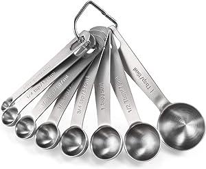 Measuring Spoons: U-Taste 18/8 Stainless Steel Measuring Spoons Set of 8 Piece: 1/8 tsp, 1/4 tsp, 1/3 tsp, 1/2 tsp, 3/4 tsp, 1 tsp, 1/2 tbsp & 1 tbsp Dry and Liquid Ingredients