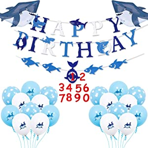 UTOPP Shark Birthday Party Decorations, Shark Happy Birthday Banner Under the Sea Ocean Theme Color Shark Balloons Large Shark Mylar Balloons for Kids 1st 2nd 3rd 4th 5th 6th 10th Birthday Supplies