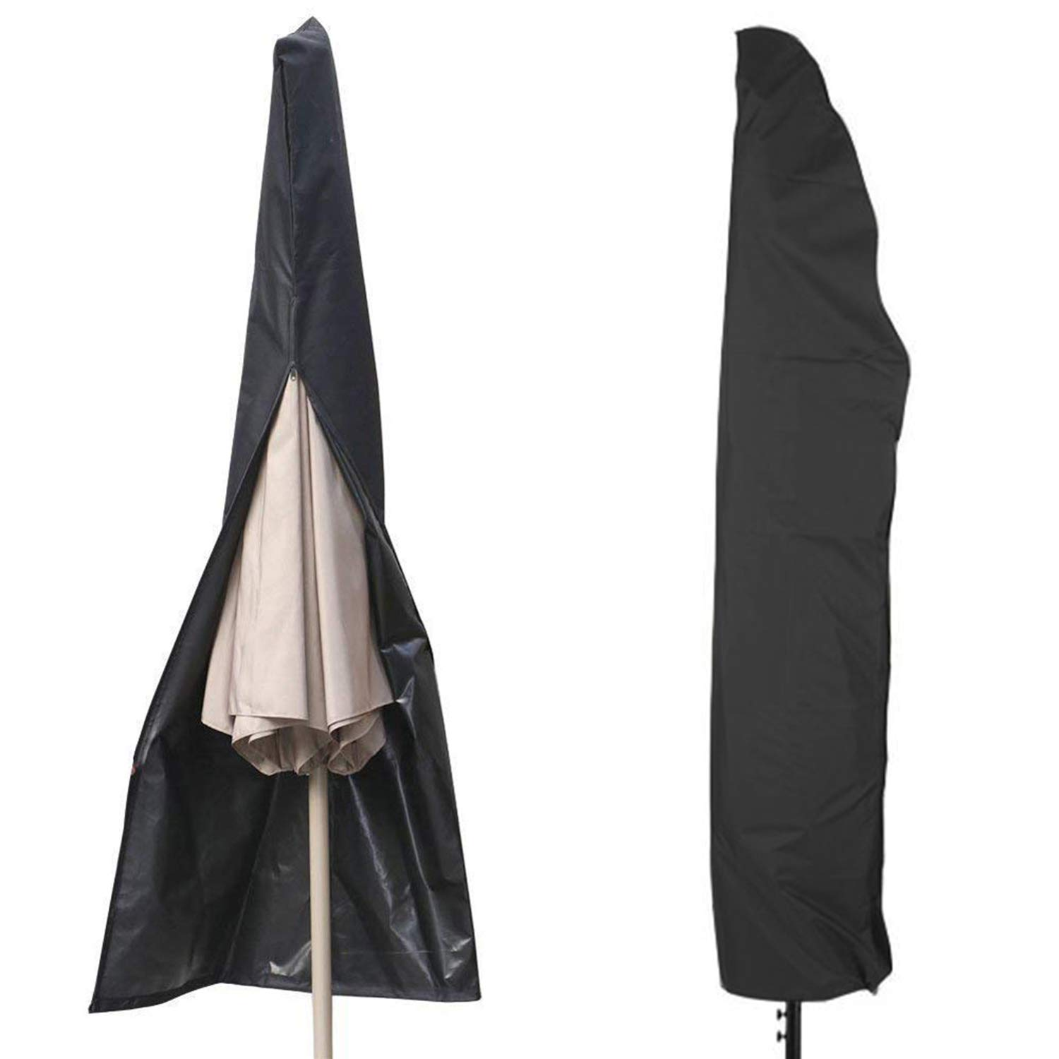 GUGUO Parasol Cover, Weatherproof Waterproof Outdoor Patio Zipper Parasol Umbrella Cover For Diameter 3M Parasols,Black 600D Oxford Fabric, With Storage Zipper Bag (Black)