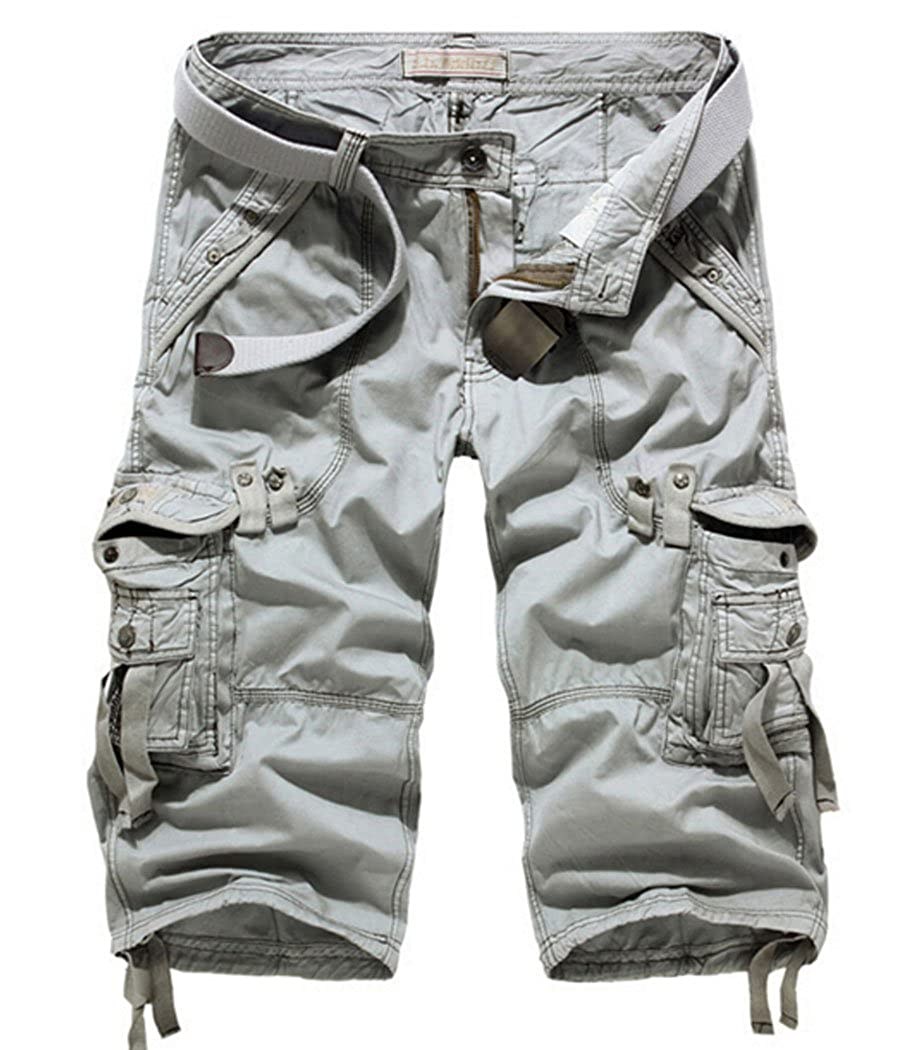 MR. R Men's Relaxed Fit Solid Long Cargo Shorts Capri Pants (No Belt)