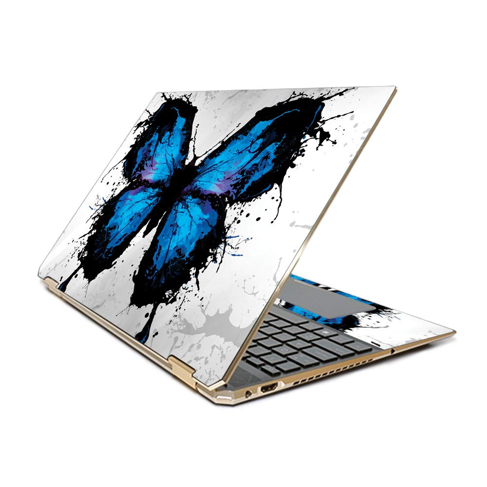 MightySkins Skin Compatible with HP Spectre x360 15.6'' Gem-Cut (2019) - Butterfly Splash | Protective, Durable, and Unique Vinyl Decal wrap Cover | Easy to Apply| Made in The USA