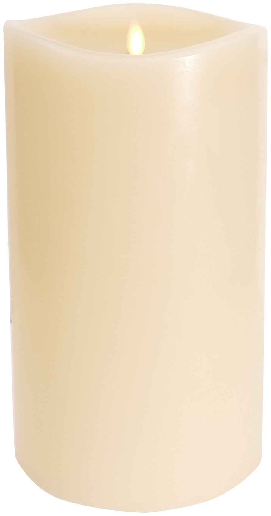 Large Luminara Flameless Candle: 360 Degree Top, Unscented Moving Flame Candle with Timer (10'' Ivory)