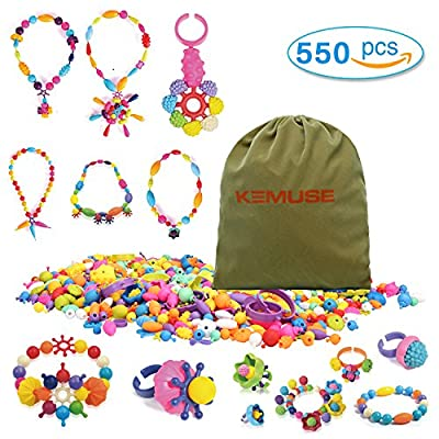 Kemuse 550 PCS Kids Pop Snap beads Set- Creative DIY Jewelry Kit for Girls Necklace and Bracelet Art Crafts Toys