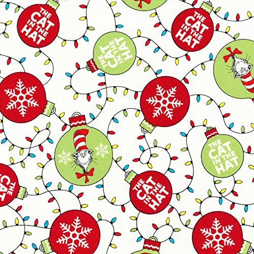 1 Yard Cat in the Hat Christmas Dr. Seuss by Robert Kaufman 100% Cotton Quilt Fabric ADE-16675-223 Holiday