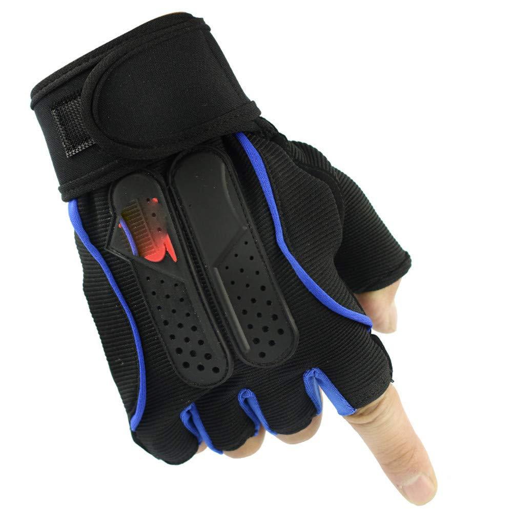Underwear hall Al Al Al aire libre guantes de medio dedo fitness deportista masculina larga pulsera de montar medio dedo guantes, azul-M 1a9fc4