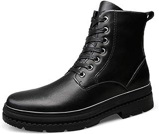 YAJIE-boots, Herren-Stiefeletten aus weichem Echtleder mit runder Schnürung Lässige HIGT-Top-Stiefel (Warmer Samt optional) (Color : Warm Black, Größe : 46 EU)