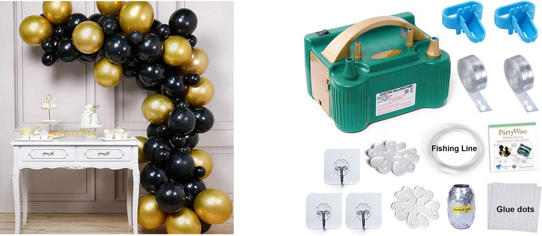 Bundle - Black and Gold Balloons 60 pcs and Balloon Pump