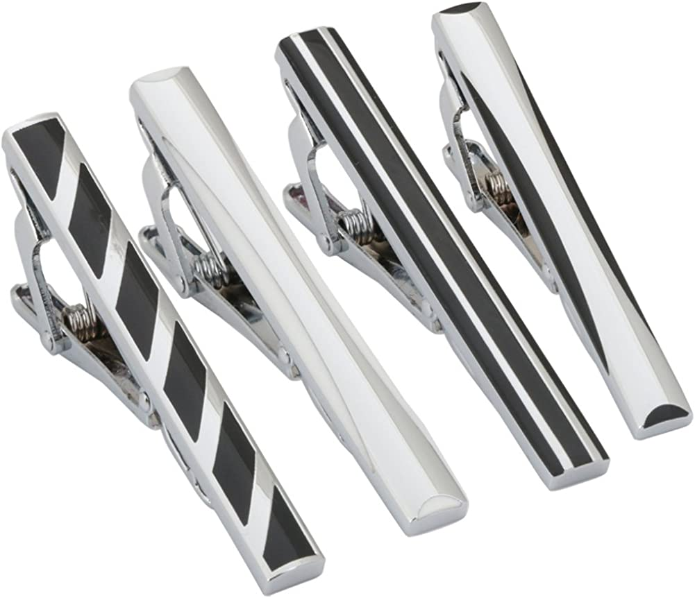 GWD 4pc Mens Tie Bar Clip 2.1 Inch Tie Clips for Men Father's Day Gift Silver Black Necktie Bar Clip Set