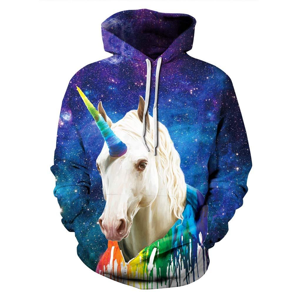 ISAAC ENGLAND Impreso 3D Rainbow Unicornio Sudadera con Capucha ...
