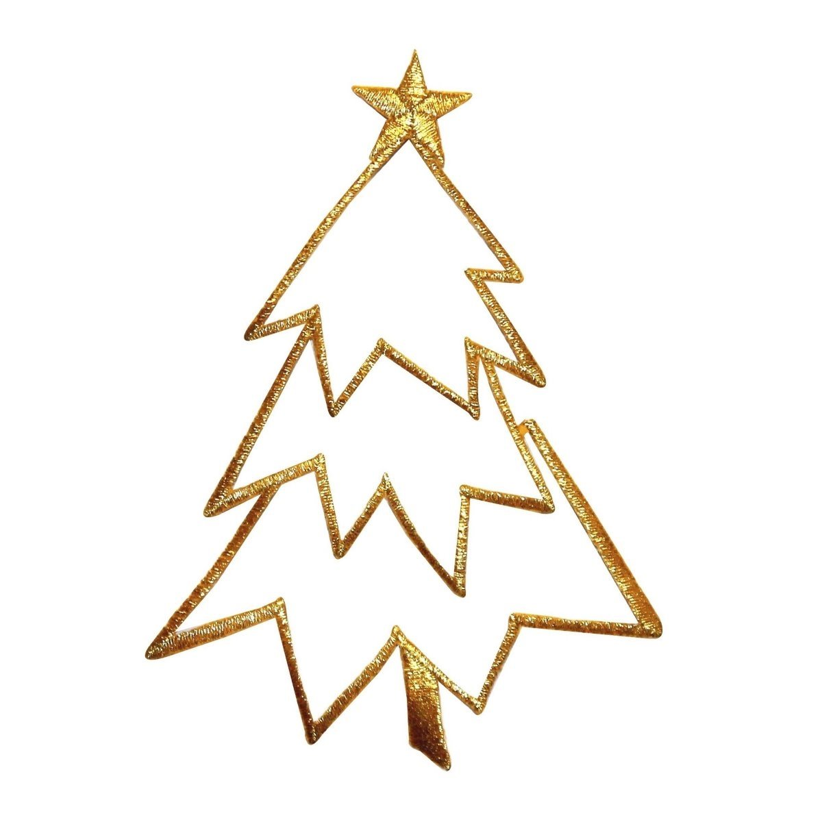 Christmas Tree Outline.Id 8042 Christmas Tree Outline Gold Patch Decoration Embroidered Ironon Applique