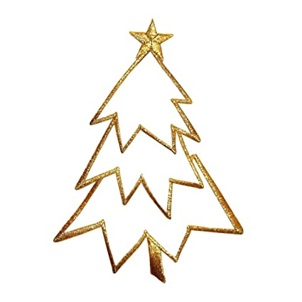 Amazon Com Id 8042 Christmas Tree Outline Gold Patch Decoration