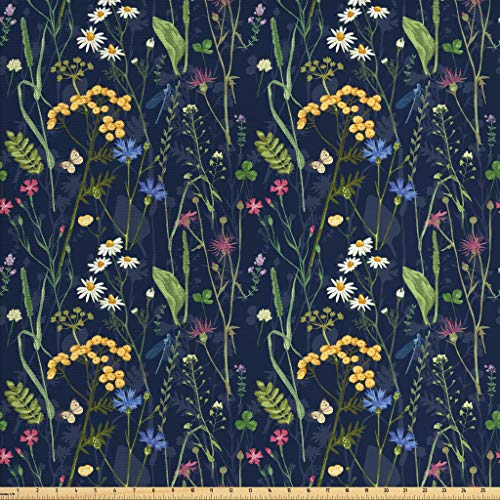 (Lunarable Paint Fabric by The Yard, Botanical Beauty Floral Garden Daisy Magnolia Peony Lily Bloom Butterfly, Decorative Fabric for Upholstery and Home Accents, 1 Yard, Night Blue Reseda Green)