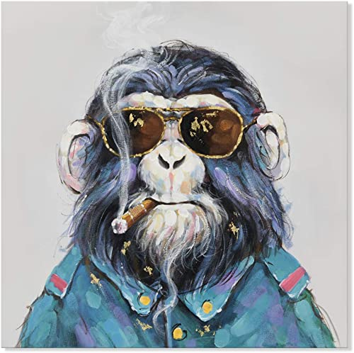 SEVEN WALL ARTS – Modern Gorilla Monkey Animal Painting Cool Smoking Chimp with Sunglasses Funny Artwork Ready to Hang for Living Room Office Home Decor 24 x 24 Inch