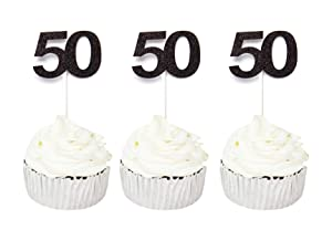 24 PCS 50th Cupcake Toppers - Anniversary or Birthday Cupcake Picks Party Decoration Supplies | Black 50th