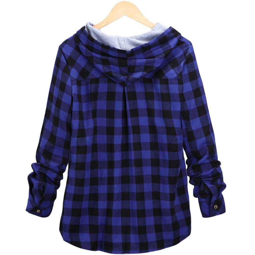 Amazon.com: aliveGOT Womens Classic Plaid Cotton Hooded ...