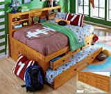 Full Daybed Bookcase with 6 Drawers, 5 Drawer Chest and Bookshelf in Honey Finish