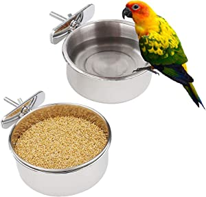Luckybaby Bird Feeding Dish Cups, Parrot Food Bowl Clamp Holder Stainless Steel Coop Cup Bird Cage Water Bowl 2 Pack
