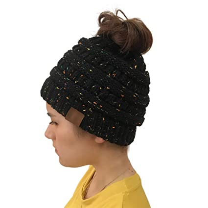 e36cd4b662d Image Unavailable. Image not available for. Color  Heyuni.1PC Women Winter  Warm Knitted Ponytail Beanie Hat Messy High ...