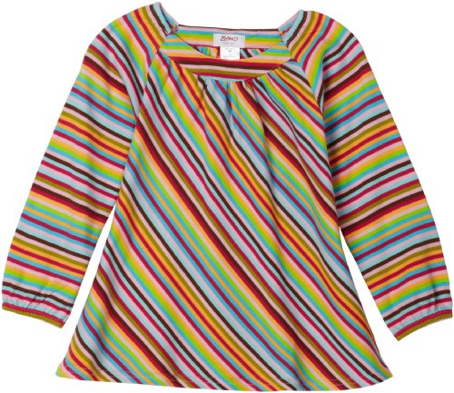Zutano Little Girls' Zutano Long Sleeve Viola Super Stripe Top
