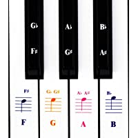 Piano Stickers for Keys,Colorful Piano Keyboard Stickers for 49/61/ 76/88 Key Keyboard White and Black Keys, Removable…
