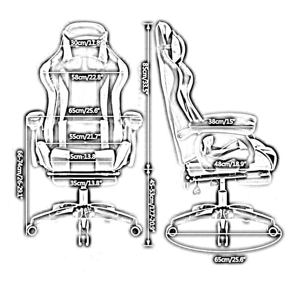 JIEER-C stol kontorsstol bekväm spelstol, hög rygg spelstol höjd justerbar kontorsstol multifunktion verkställande stol med nackstöd och ryggstöd, röd vit Svart vit