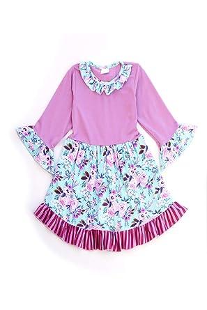 a11a9ac34cf Amazon.com  Honeydew cutie Boutique Purple Floral Stripe Ruffle Dress   Clothing