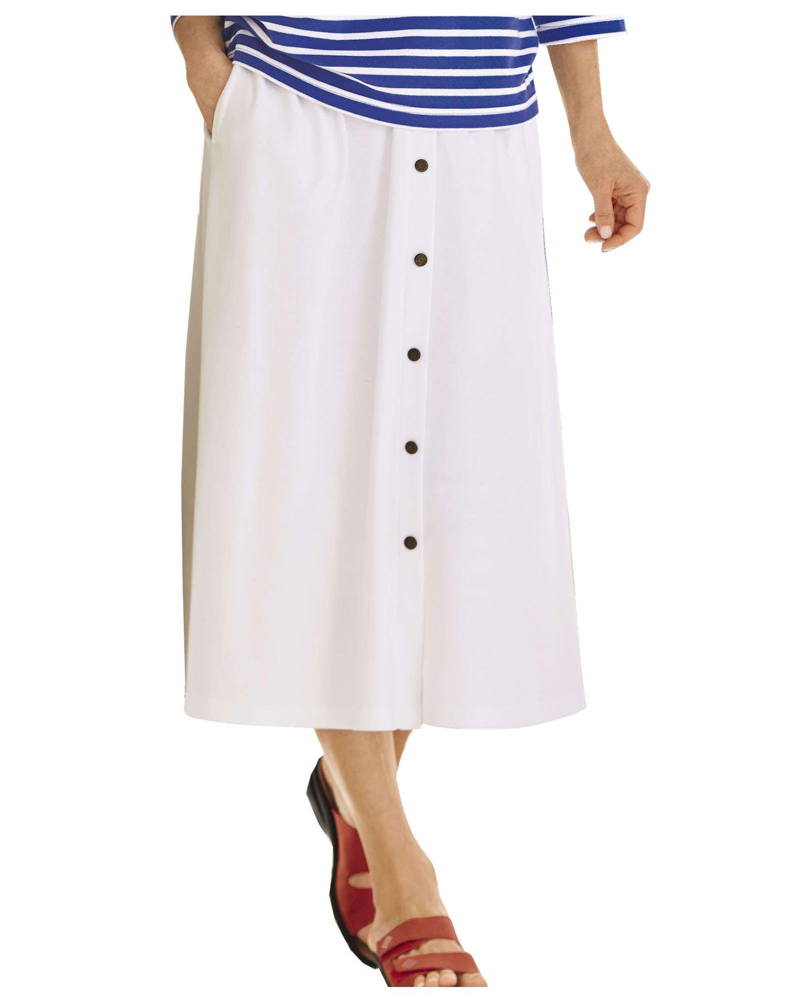 UltraSofts Fashion Knit Skirt, White, Petite Medium