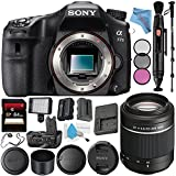 Sony Alpha a77 II DSLR Camera (Body Only) ILCA77M2 + Sony DT 55-200mm f/4-5.6 SAM Lens SAL55200 + VG-C77AM Vertical Battery Grip + NP-FM500H Lithium Ion Battery + 64GB SDXC Card + Fibercloth Bundle