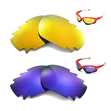 55e56f4568 Image Unavailable. Image not available for. Color  New Walleva Polarized  24K Gold + Purple Vented Lenses For Oakley Jawbone