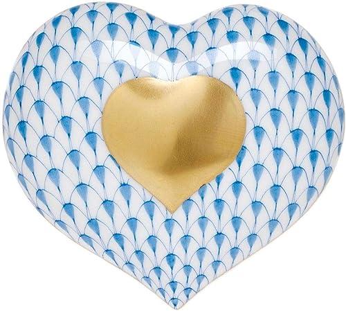 Herend Heart of Gold Porcelain Figurine Blue Fishnet