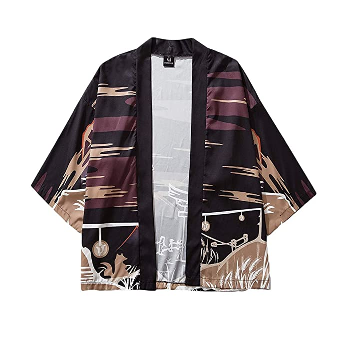 Amazon.com: Chaqueta de estilo japonés para hombre Kimono ...