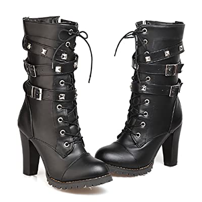 Ifantasy Fashion Women's Lace Up Ankle Booties Punk Rock Rivet Chunky Heel Leather Military Combat Boots | Ankle & Bootie