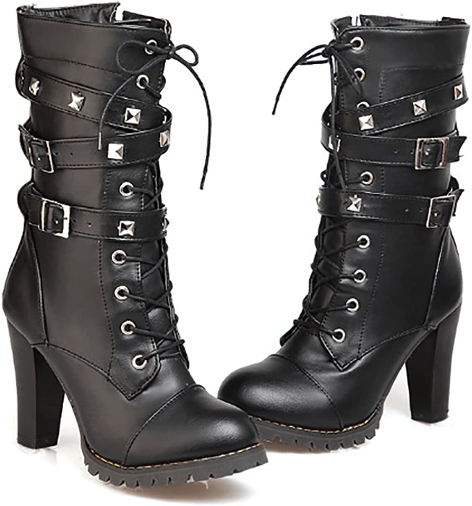 Ifantasy Fashion Womens Lace Up Ankle Booties Punk Rock Rivet Chunky Heel Leather Military Combat Boots
