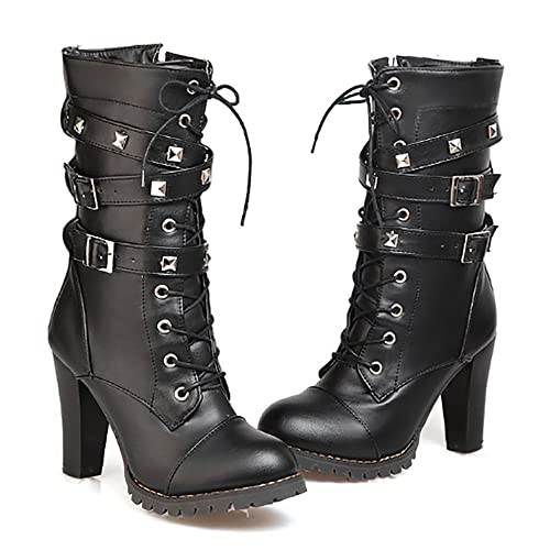 c6946c22975 Ifantasy Fashion Women's Lace Up Ankle Booties Punk Rock Rivet Chunky Heel  Leather Military Combat Boots