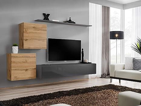All4all Wohnwand Hochglanz Tv Board Anbauwand Schrankwand