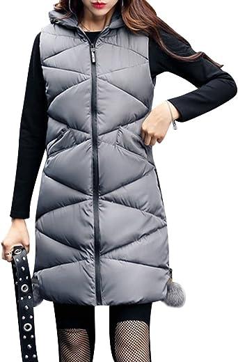 Femme Veste sans Manche Manteau à Capuche Long Doudoune
