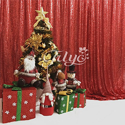 Red Glitter Backgrounds - TRLYC 6Ft6Ft High Quailty Red Sequin Photo Backdrop Glitter Ceremony Background For Wedding