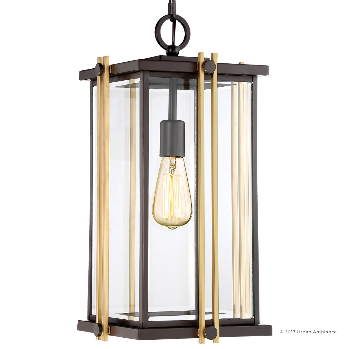 Luxury Craftsman Outdoor Pendant Light, Large Size: 20''H x 10''W, with Craftsman Style Elements, Gold Trimmed Design, Elegant Estate Bronze Finish and Beveled Glass, UQL1074 by Urban Ambiance
