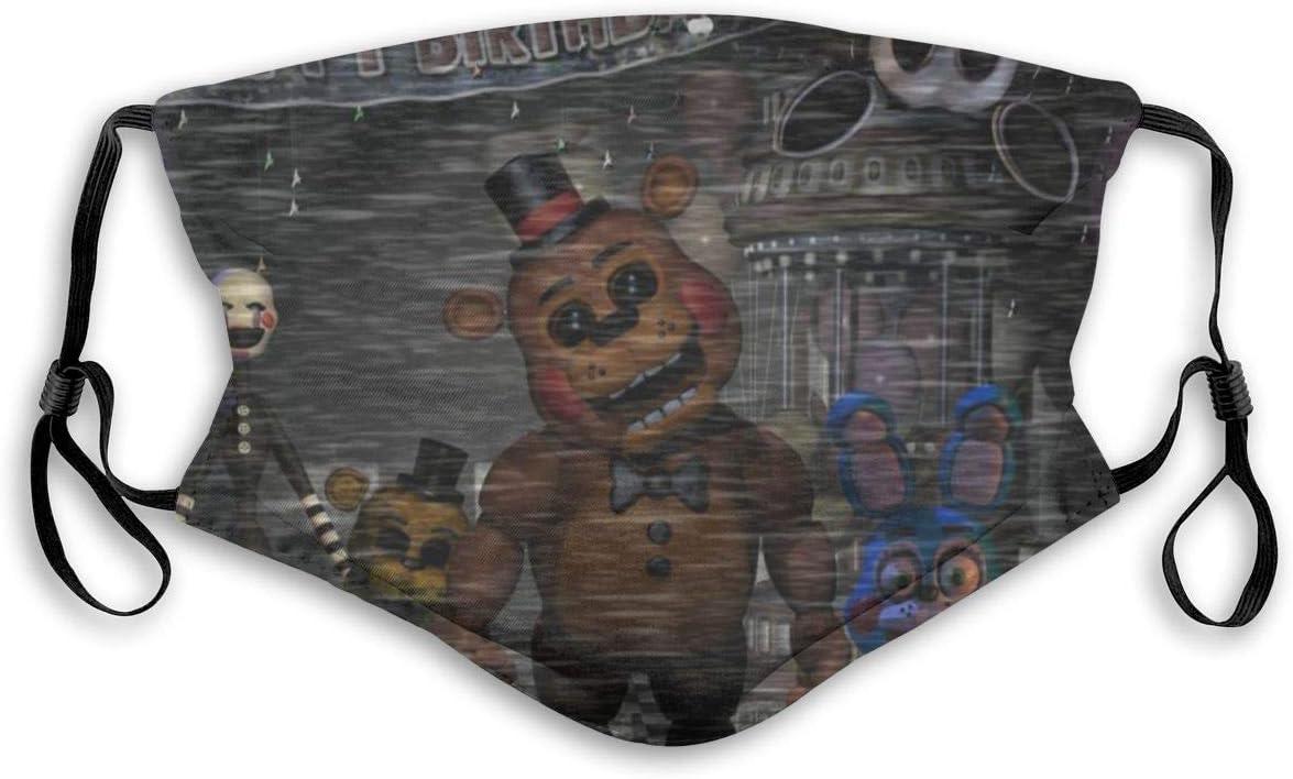 Filtros de inserción de Bufanda bucal de protección UV, Videojuego FNAF Feliz cumpleaños Celebrar la contaminación del Polvo del póster La Mitad para Caminar con Orejeras Ajustables