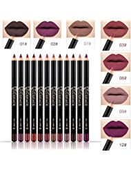 NICEFACE 12 Color Lip Pencil - Soft Waterproof Smooth Lip Liner/Lipliner Pen